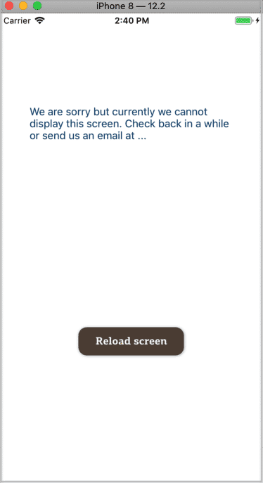Error Boundary UI sample screen at highest app level